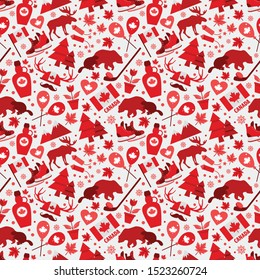 Canada sign and symbol, Icons bright design flat set in seamless pattern.