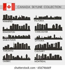 Canada Skyline City Silhouette Design Collection