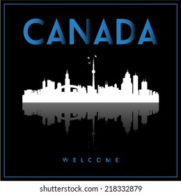 Canada, skyline silhouette vector design on black background.