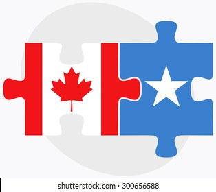 Canada and Somalia Flags in puzzle isolated on white background