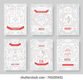 Canada thin line brochure cards set. Country traditional template of flyear, magazines, posters, book cover, banners. Architecture outline invitation concept background. Layout quality modern pages.