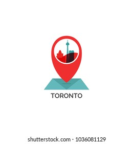 Canada Toronto map city pin point geolocation modern skyline shape pointer vector flat logo web icon illustration