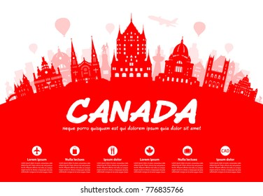 Canada Travel Landmarks. Vector and Illustration