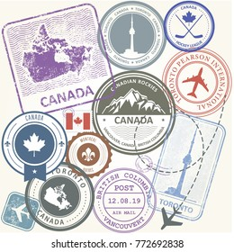 Canada travel stamps set -  journey symbols of Toronto, Canada and Quebec