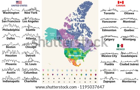 Canada United States Mexico Detailed Map Stock Vector (Royalty Free ...