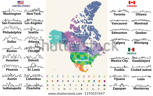 Canada United States Mexico Detailed Map Stock Vector ...