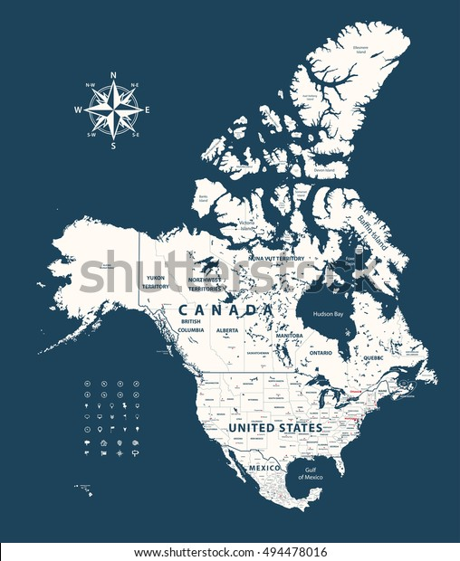 Canada United States And Mexico Map.Canada United States Mexico Map States Stock Vector Royalty Free