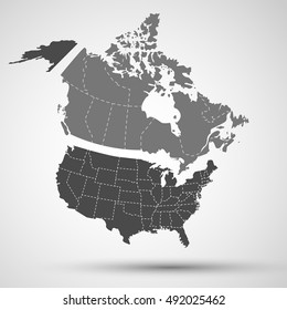 map of north america canada usa