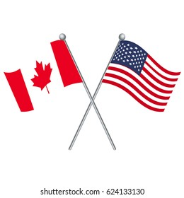 Canada and USA crossed flags