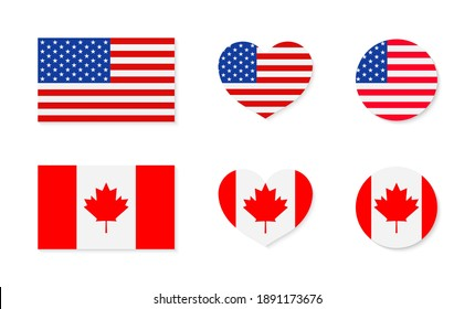 Canada and USA flags. North america. Canadian and american friendship. Icon of maple for Canada. Icon of stars for USA. Flags in circles and hearts. Symbols for national independence. Vector.