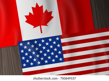 canada and usa flags on wooden background