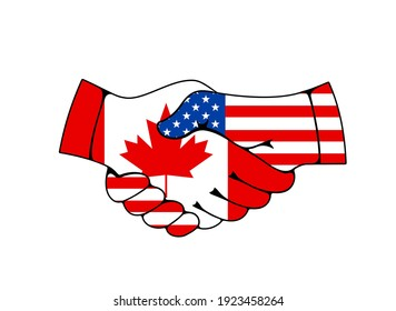 Canada and USA relations, business and trade cooperation vector concept. Countries good relationships and support, states military and political union. Handshaking hands with US and Canadian flags