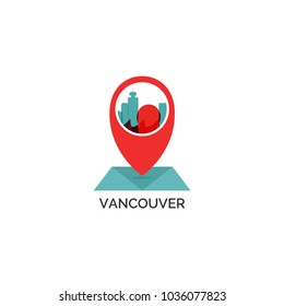 Canada Vancouver map city pin point geolocation modern skyline shape pointer vector flat logo web icon illustration