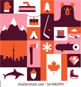 Canada, vector flat illustration, icon set, background. Mittens, landscape, ax, mountain, camping, fish, winter, wood, forest, bear, tree, hockey, diamond, flag, skates, food, boat