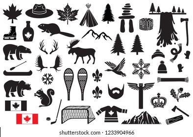 Canada vector icons set (maple leaf, hockey, mountain, tree, beaver, polar bear, grizzly, waterfall, hockey stick, puck, goal, moose, ranger or mountie hat, skates, snowflake, flag, snowshoe, scarf)
