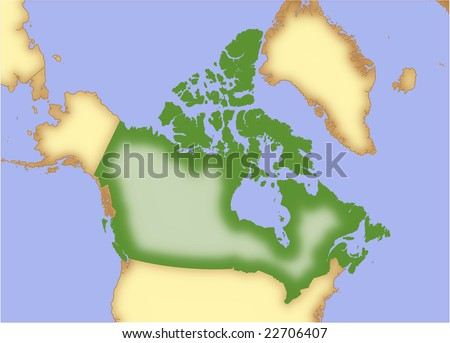 Map Of Canada And Surrounding Countries.Canada Vector Map Borders Surrounding Countries Stock Vector