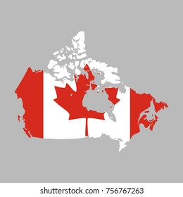 canada vector map with the flag