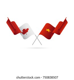 Canada and Vietnam flags. Crossed flags. Vector illustration.