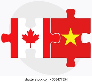 Canada and Vietnam Flags in puzzle isolated on white background