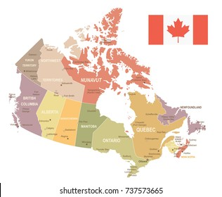 Canada vintage map and flag - vector illustration