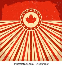 Canada vintage old poster with flag colors, vector design