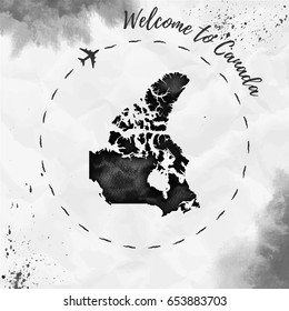 Canada watercolor map in black colors. Welcome to Canada poster with airplane trace and handpainted watercolor Canada map on crumpled paper. Vector illustration.