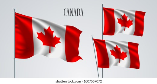 Canada waving flag set of vector illustration. Red white colors of Canada wavy realistic flag as a patriotic symbol