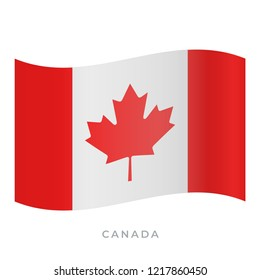 Canada waving flag vector icon. National symbol of Canada. Vector illustration isolated on white.