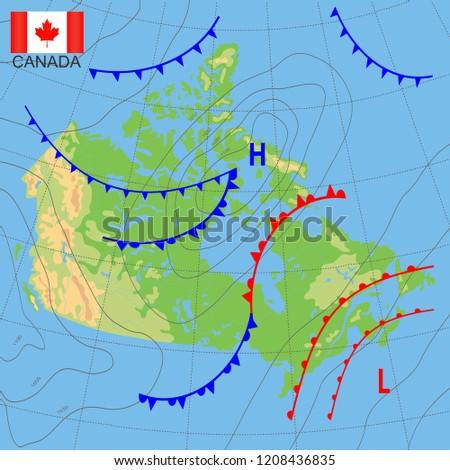Canada Weather Map Country Meteorological Forecast Stock Vector
