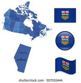 Canada-Alberta-Map and Flag Collection