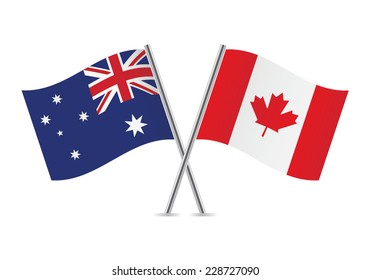 Canadian and Australian flags. Vector illustration.