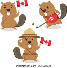 Canadian Beaver holding Canada flag, beaver playing ice jockey, boy scout beaver always ready. Vector illustration cartoon.