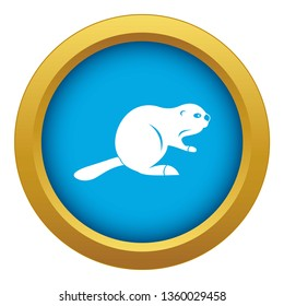Canadian beaver icon blue vector isolated on white background for any design