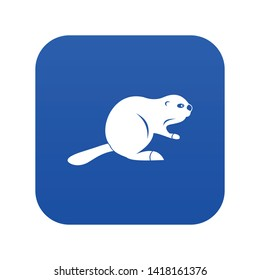 Canadian beaver icon digital blue for any design isolated on white vector illustration