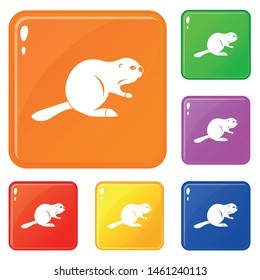Canadian beaver icons set collection vector 6 color isolated on white background