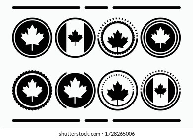Canadian Button icon collection is black, Canada arranges buttons with a black frame