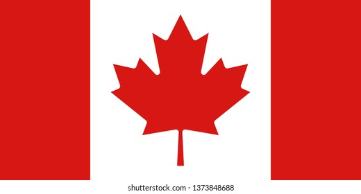 Canadian or Canada official national flag sign icon flat vector