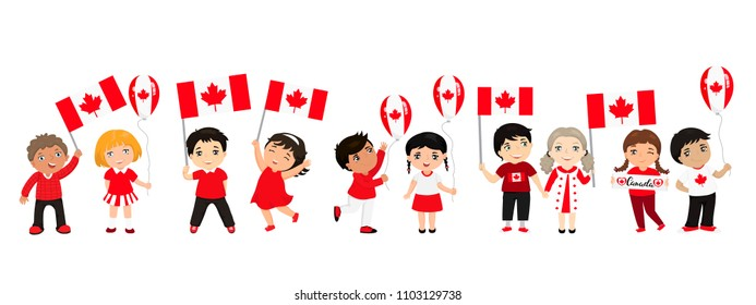 Canadian children with flags and balloons. graphic design to the Canada holidays