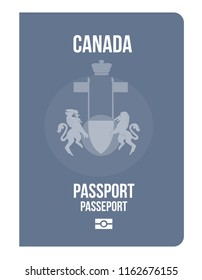 Canadian citizenship biometric passport. Travel or Immigration to Canada North America. Concept of world power passports from developed countries immigration, change nationality. National symbol.