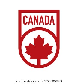 A Canadian crest design that features a maple leaf icon and text that says Canada.