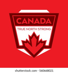 A Canadian crest in vector format. This unique badge features a maple leaf and the words true north strong which are from the national anthem of Canada.