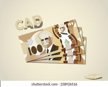 canadian dollars money paper minimal vector graphic design