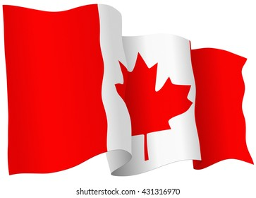 Canadian flag of Canada isolated on white in vector format.