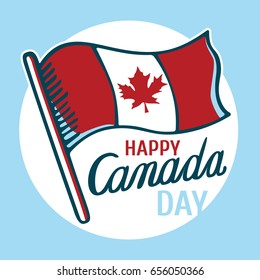 Canadian flag and inscription: Happy Canada Day in circle. Vector image for postcards, design and your business