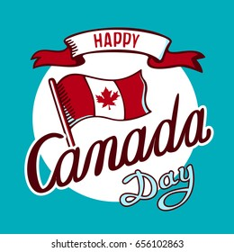 Canadian flag and inscription: Happy Canada Day in circle