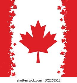 Canadian flag made maple leaves, vector illustration