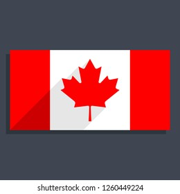 Canadian flag The Maple Leaf in flat long shadow style. This design graphic element is saved as a vector illustration in the EPS file format.