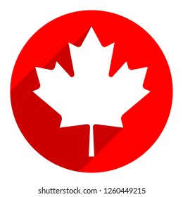 Canadian flag The Maple Leaf symbol with gray drop shadow on red round shape in flat style. This design graphic element is saved as a vector illustration in the EPS file format.