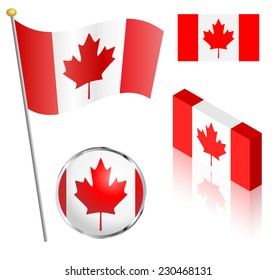 Canadian flag on a pole, badge and isometric designs vector illustration.