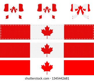 Canadian flag on ribbon and bow